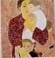 絵画 日本画 「母と子」 真嶋元枝