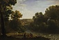 小川のある森の風景