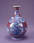 色鍋島赤地丸紋模様花瓶