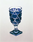 手彫り薩摩切子紫色被せ斜格子に魚子・麻の葉文脚付ガラス杯