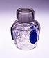 藍熔着切子木の葉文蓋付ガラス壺