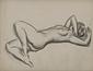裸婦[仰向けに横たわり右手で顔を隠す裸婦]