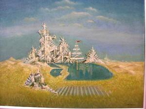 絵画 油彩 「塔の周辺」 三井 永一