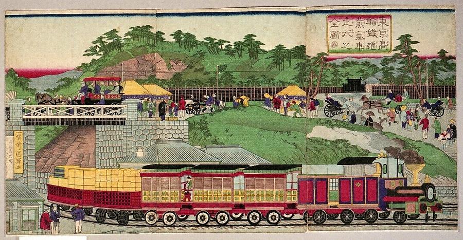 東京高輪鉄道蒸気車走行之全図
