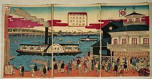 東京両国通運会社 川蒸汽往復盛栄真景之図