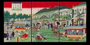 鉄道馬車往復京橋煉瓦造ヨリ竹河岸図