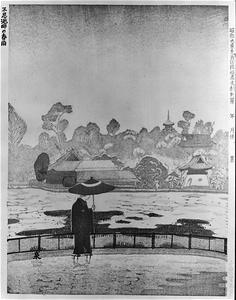 「昭和大東京百図絵」より 改版 48.不忍池畔の春雨