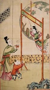 二美人遊戯鞦韆図 文化遺産オン...