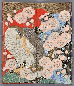 紅梅に鷹模様紙挟・箸差 こうばいにたかもようかみばさみ・はしさし