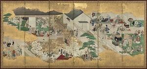 晩年の作品 歌舞伎図屏風 重要文化財